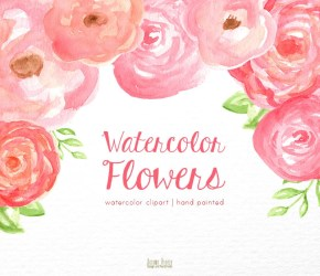 watercolor clipart flower floral pink clip drawing