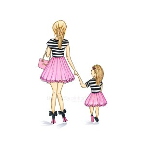 mother mom daughter drawing illustration clipart prints drawings girly daughtew getdrawings decor clipground sold