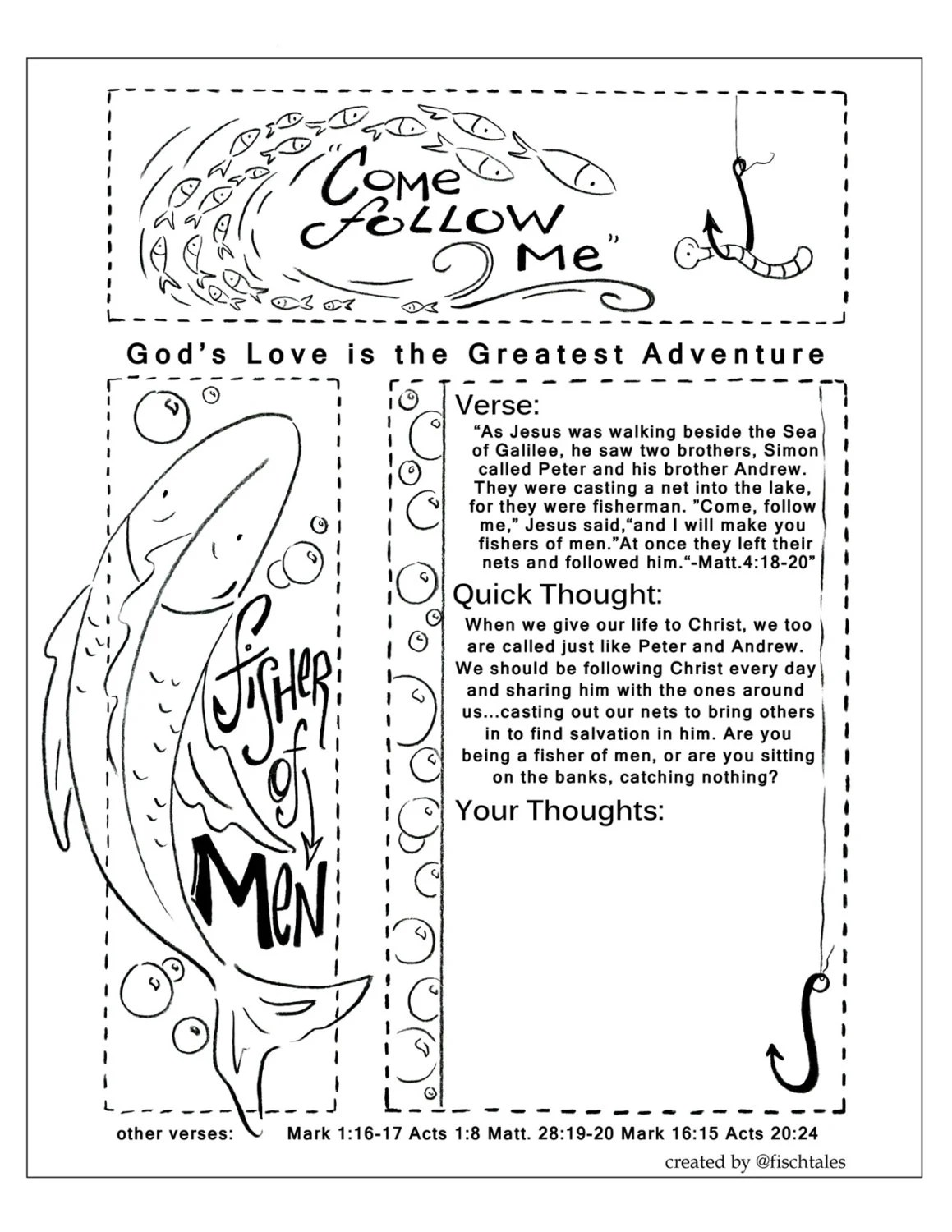 Fisher Of Men Bible Journaling Printable from