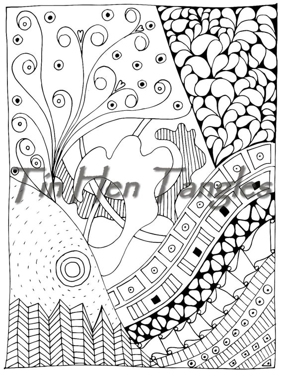 Sun over Cityscape Coloring Page Abstract Tangle Relax