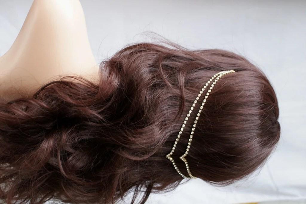 Head Chain Crystal Hair Jewellery Wedding Accessory Gold