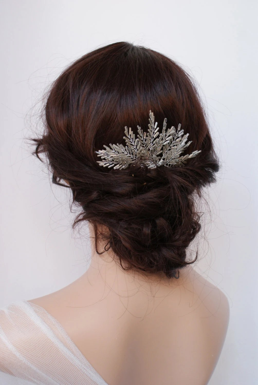 Winter Wedding Comb Bridal Hair Accessory Silver Beaded Hair