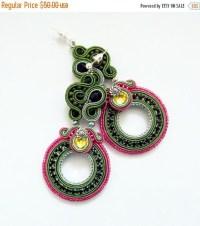Soutache earrings. Flashy dangle earrings. Bold by ...
