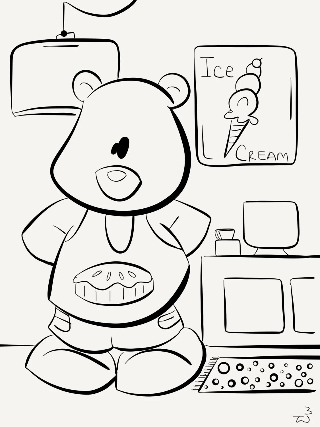 Ice Cream Shop Bear coloring book instant download