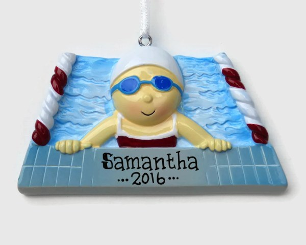 Swimmer Girl Personalized Ornament Swim Team Swimming