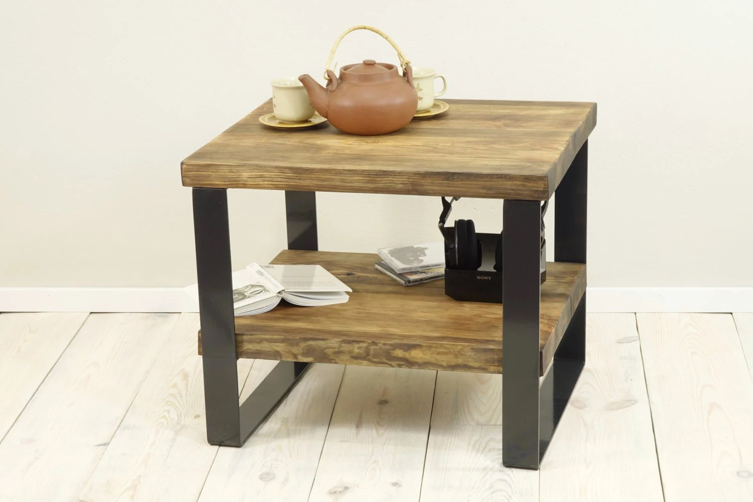 Reclaimed Wood Side Table 2 Level Coffee Table Plank Coffee