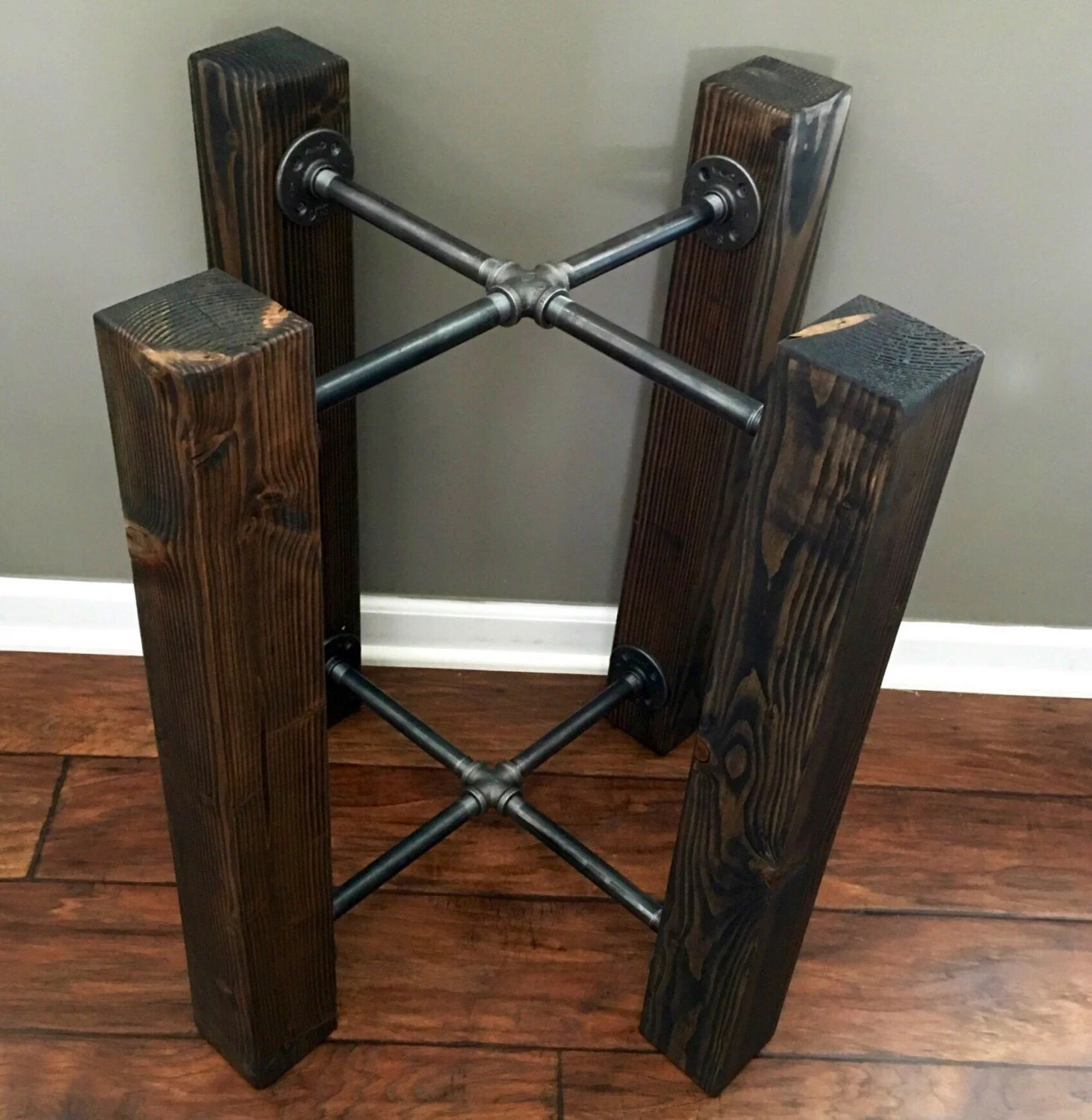 large dining chair pads small rocking custom: wood beam & iron pipe round/square by styleofages