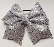 3 silver sequin hair bow