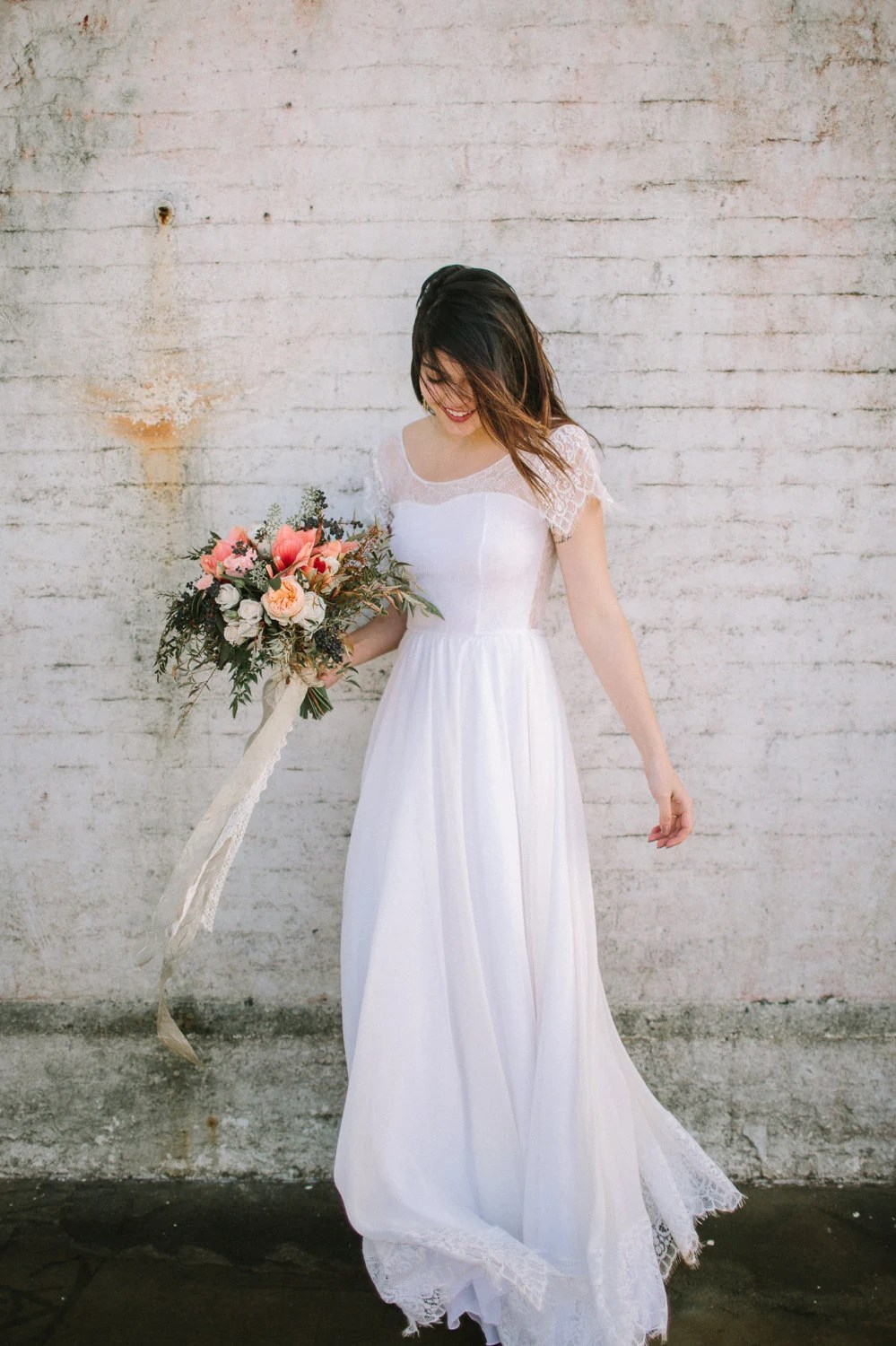 Indie Wedding Dress with Lace Illusion Sweetheart Neckline