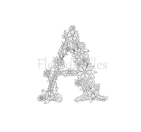 adult coloring page floral letters alphabet A by Fleurdoodles