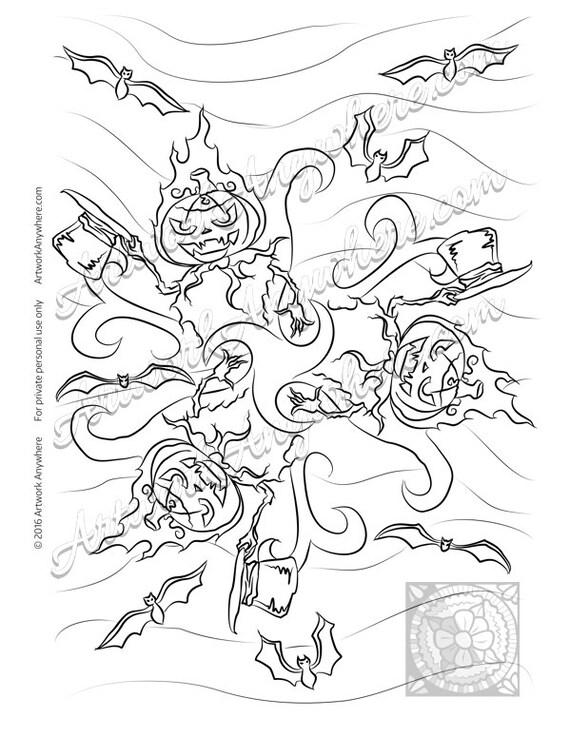 Halloween Jack o Lantern Pumpkin Mandala Adult coloring page
