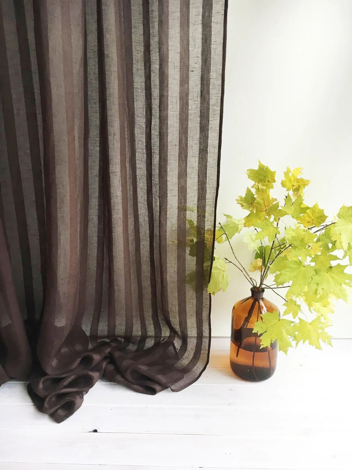 102 Wide Curtain Panel Linen Curtain Brown Curtains