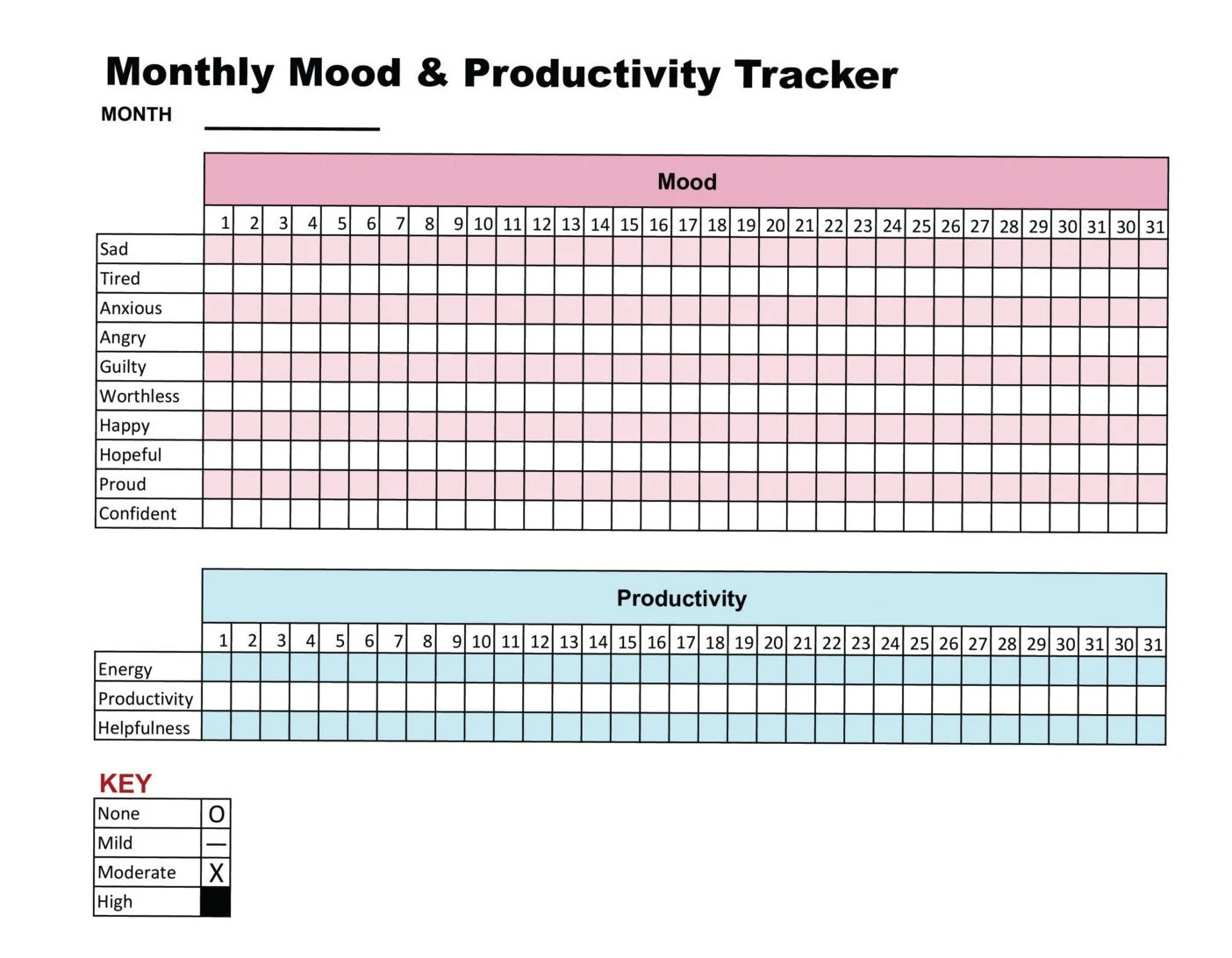 Mood Amp Productivity Tracker Printable Chart Journal Self Care
