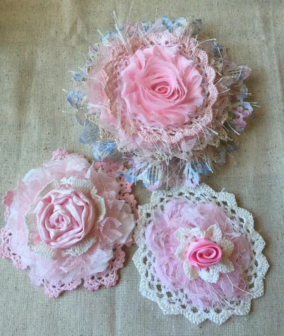 Shabby Chic Fabric FlowerCottage Chic Pink Fabric Flowers