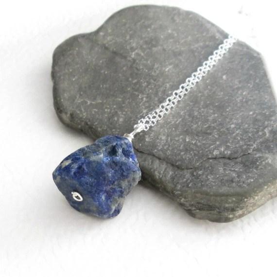 Raw Lapis Lazuli Pendant Necklace Cobalt Blue Stone Jewelry