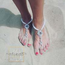 Beach Wedding Barefoot Sandalspearl Sandalsbridal