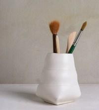 Ceramic Pencil Holder White Office OrganizerBrushes Holder
