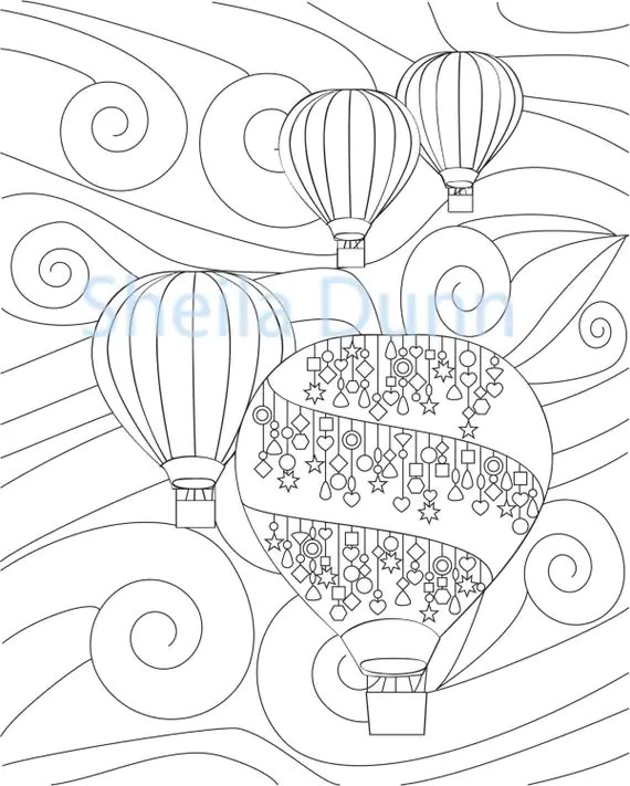 Hot Air Balloons Coloring Page 8 x 10