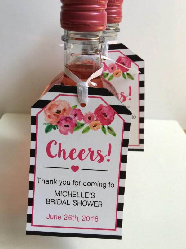 Bridal Shower Favor Tags Mini Wine Bottles Bottle