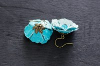 Aqua Blue Leather Flower Earrings Leather Jewelry Nature