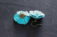 Aqua Blue Leather Flower Earrings Leather Jewelry Nature
