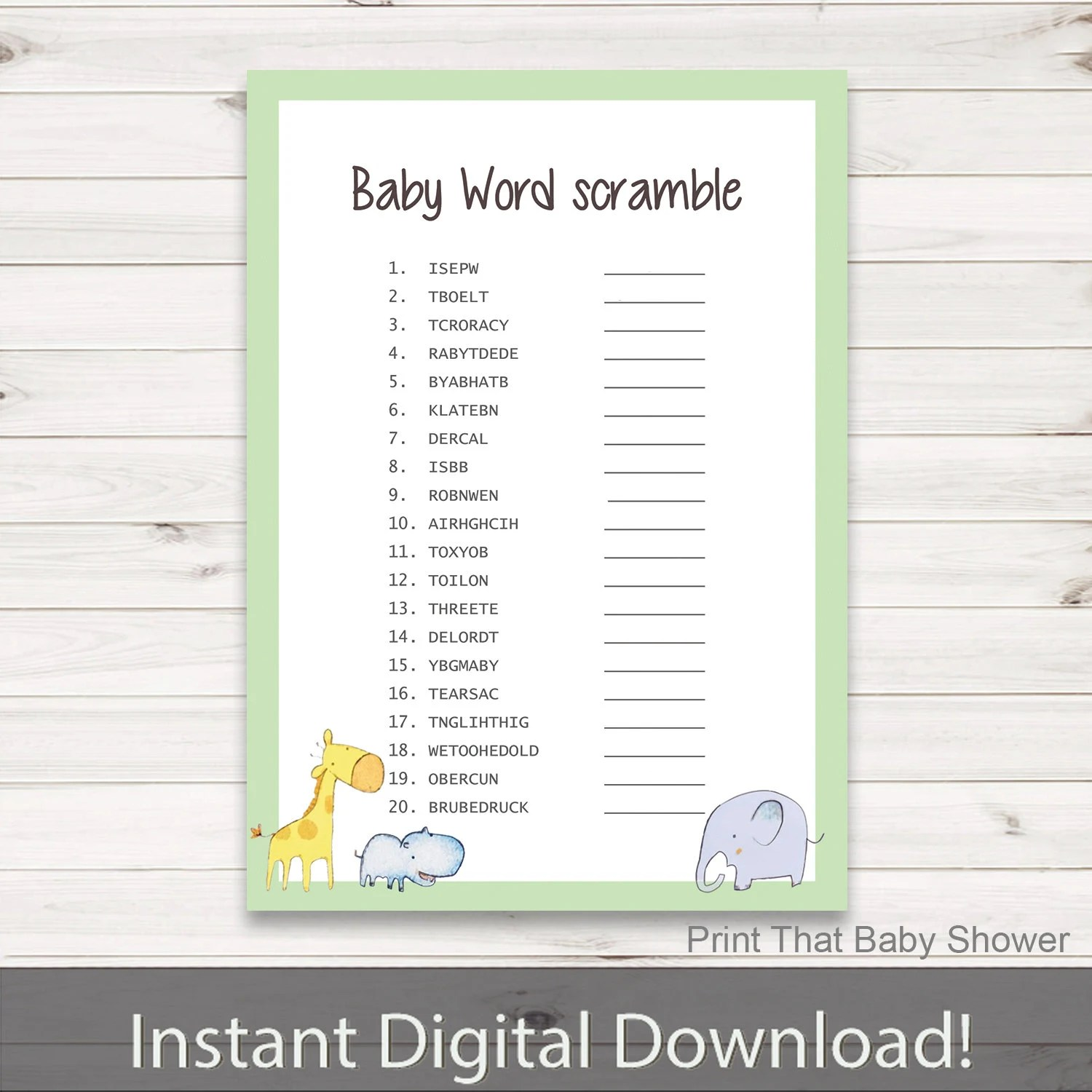 Baby Shower Games Baby Word Scramble Game Jungle Zoo Baby