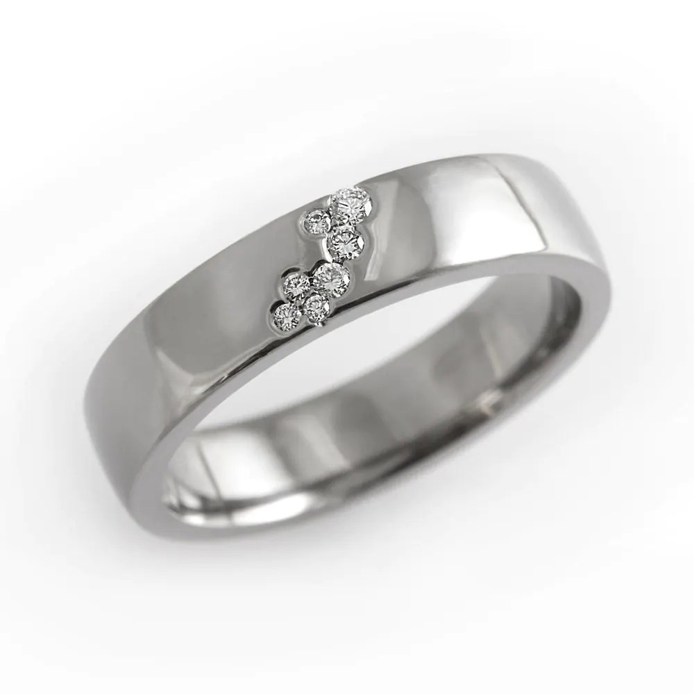 Unique diamond engagement ring simple diamond wedding band