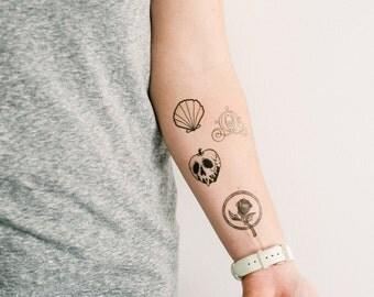 2 disney castle temporary tattoos