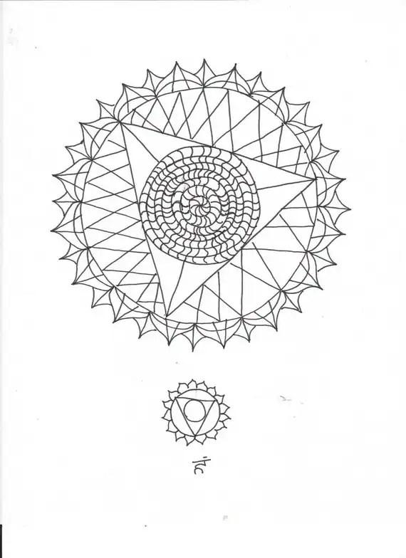 Throat Chakra Elemental Mandala Adult Coloring Page