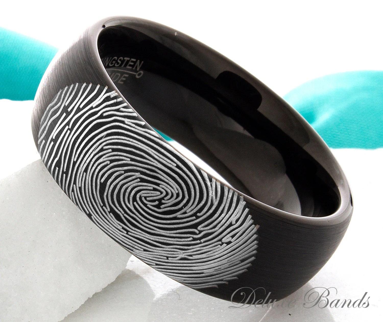 Tungsten Wedding Ring Fingerprint Ring Mens Womens Promise
