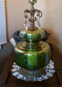 Vintage Green Iridescent Carnival Glass Globe Table Lamp With