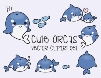 kawaii vector clipart orcas premium vectors desenhos mini gamme haut instant loading orques