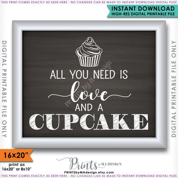 Download All You Need is Love and a Cupcake Sign Wedding Cupcake