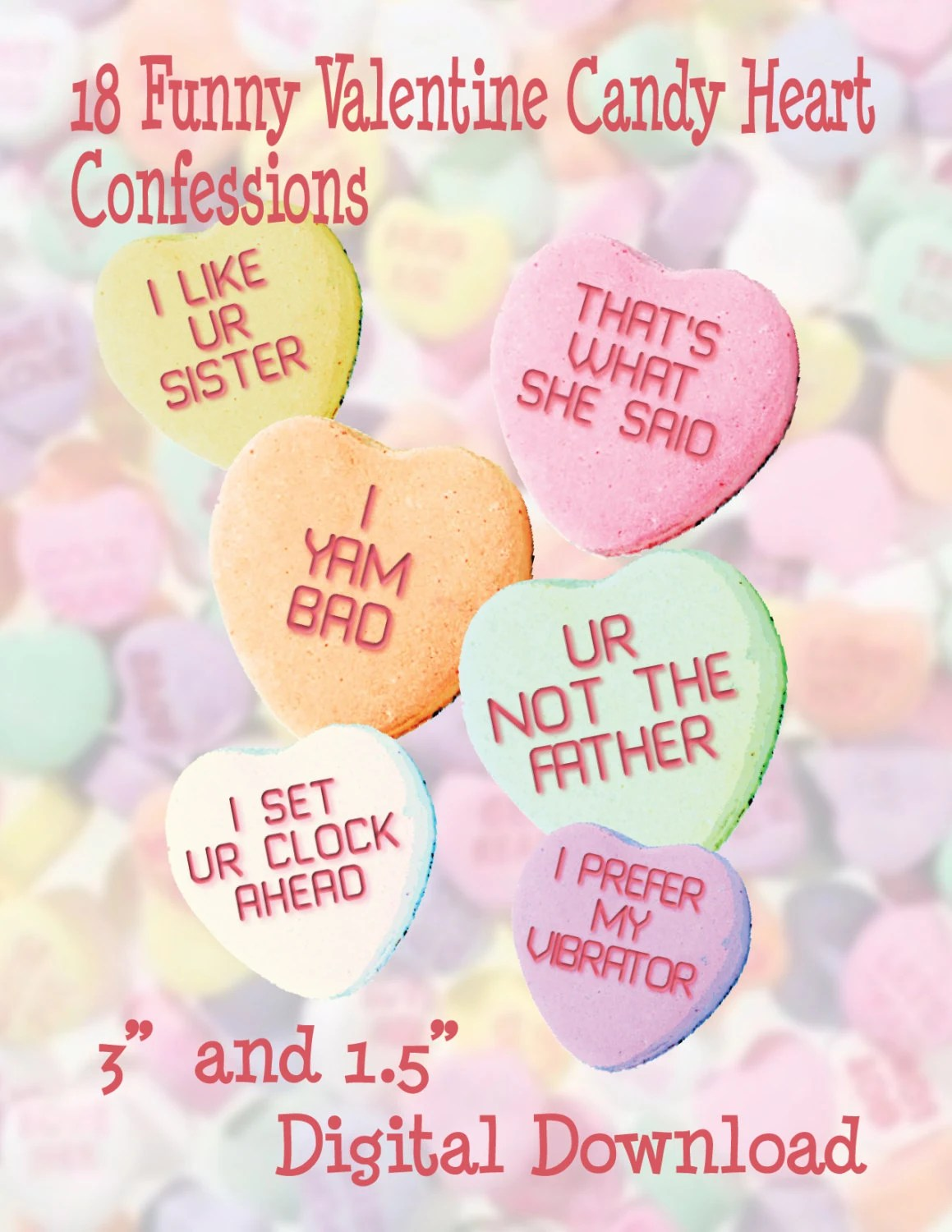 Conversation Heart Clipart Candy Heart Clipart Funny Candy Hearts Valentine Printable Digital