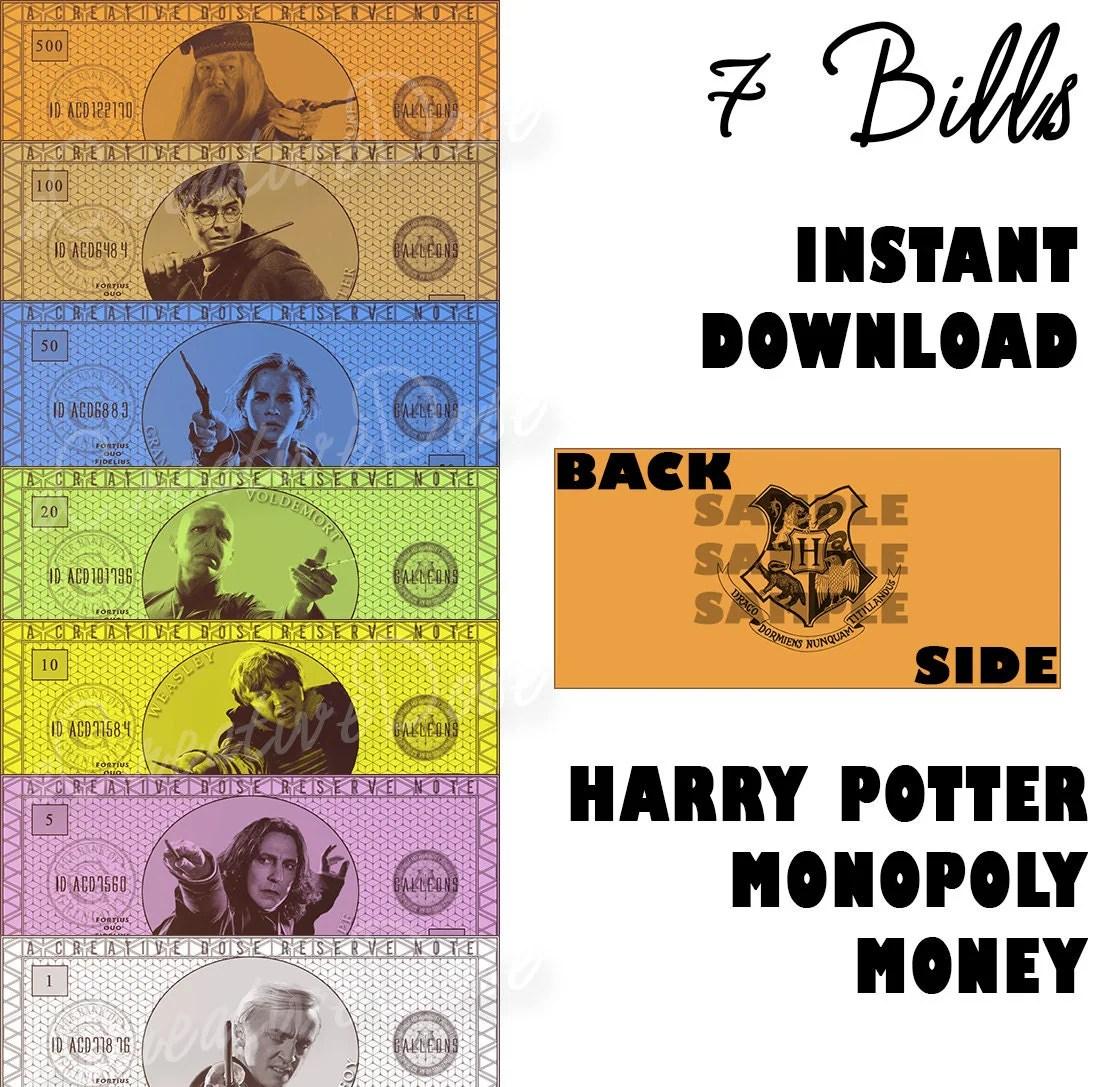 Sale Diy Harry Potter Monopoly Money Instant By Acreativedose