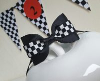 Checkered bow tie/black and white checkered bow tie/race car