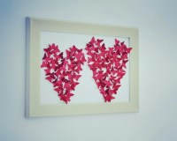 Glitter RED butterfly painting Wall ART 3D Paper Art