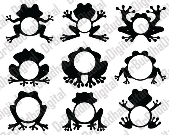 Frog Monogram Frame SVG Collection Frogs Monogram Frame DXF