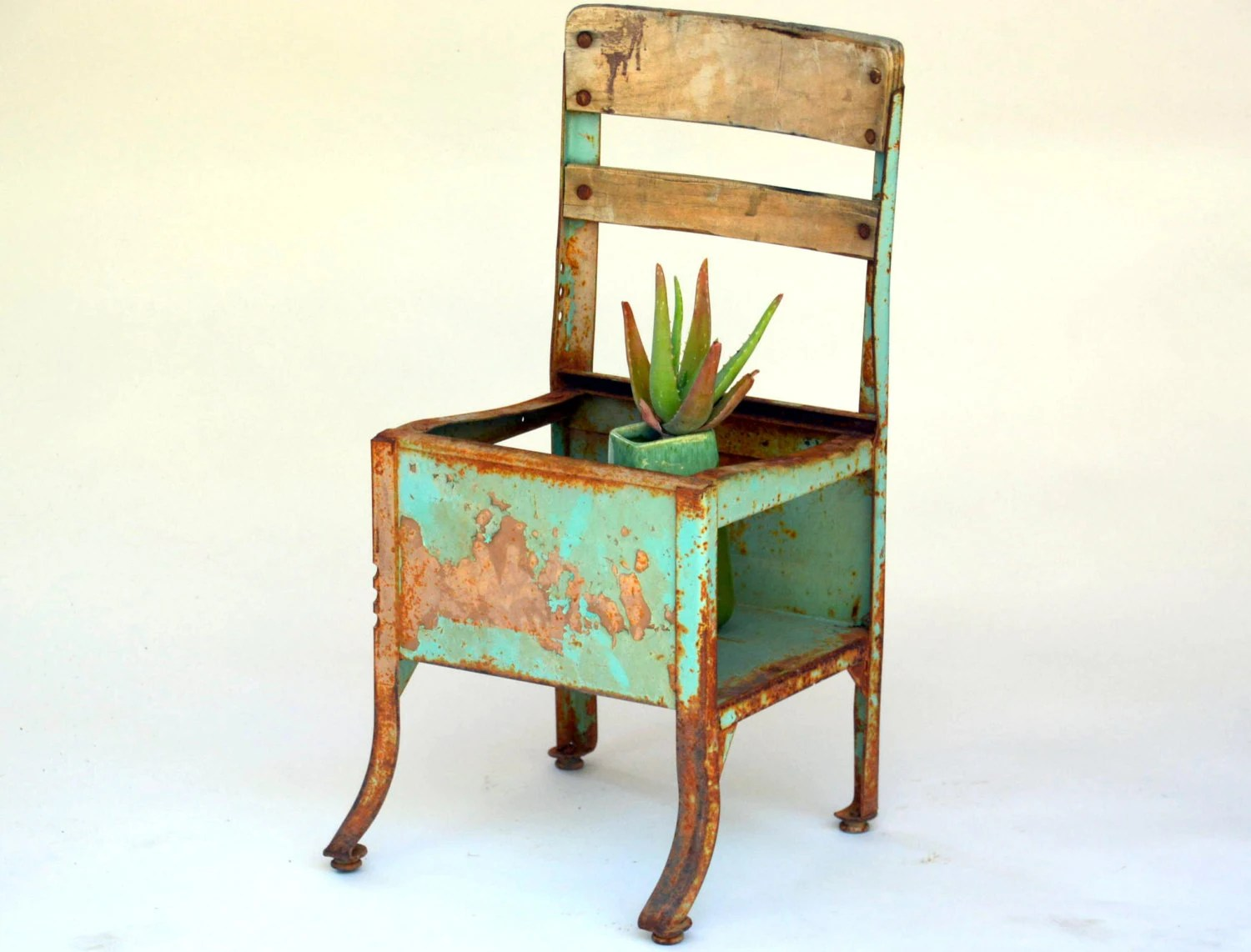 chair planter stand swivel chairs joss and main vintage teal steel childrens school nursery
