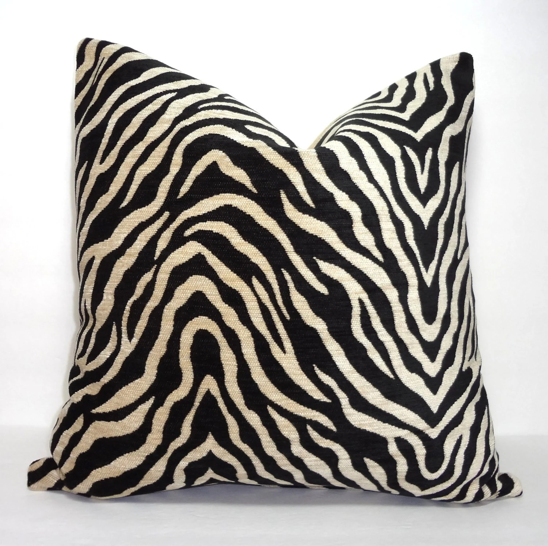 Black  Tan Zebra Print Pillow Cover Throw Pillow Decorative