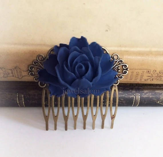 Navy Blue Wedding Comb Sapphire Blue Hair Accessories Bridal