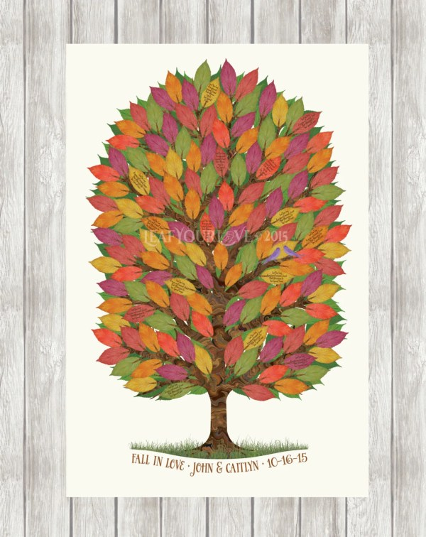 Fall Wedding Guest Book Tree Alternative by LeafYourLove