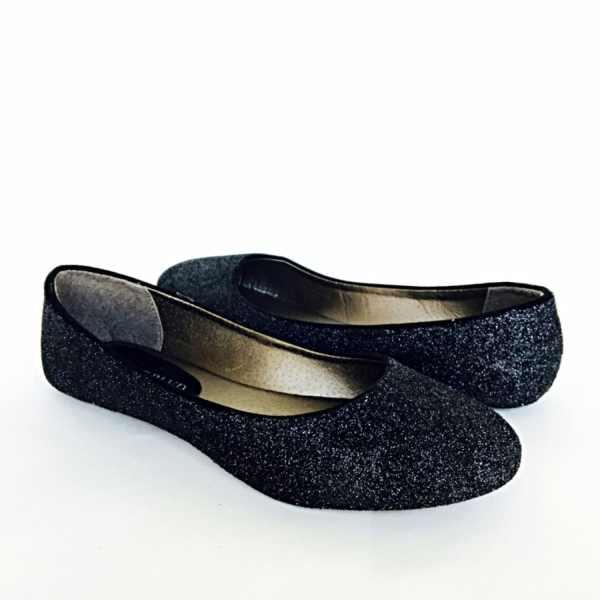 Black Glitter Flat Shoes