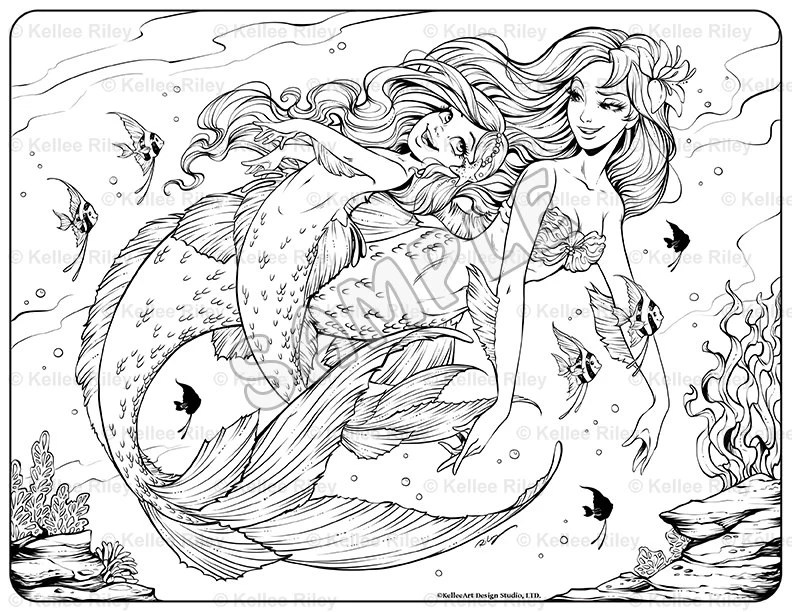 Underwater Playtime Adult Coloring Page