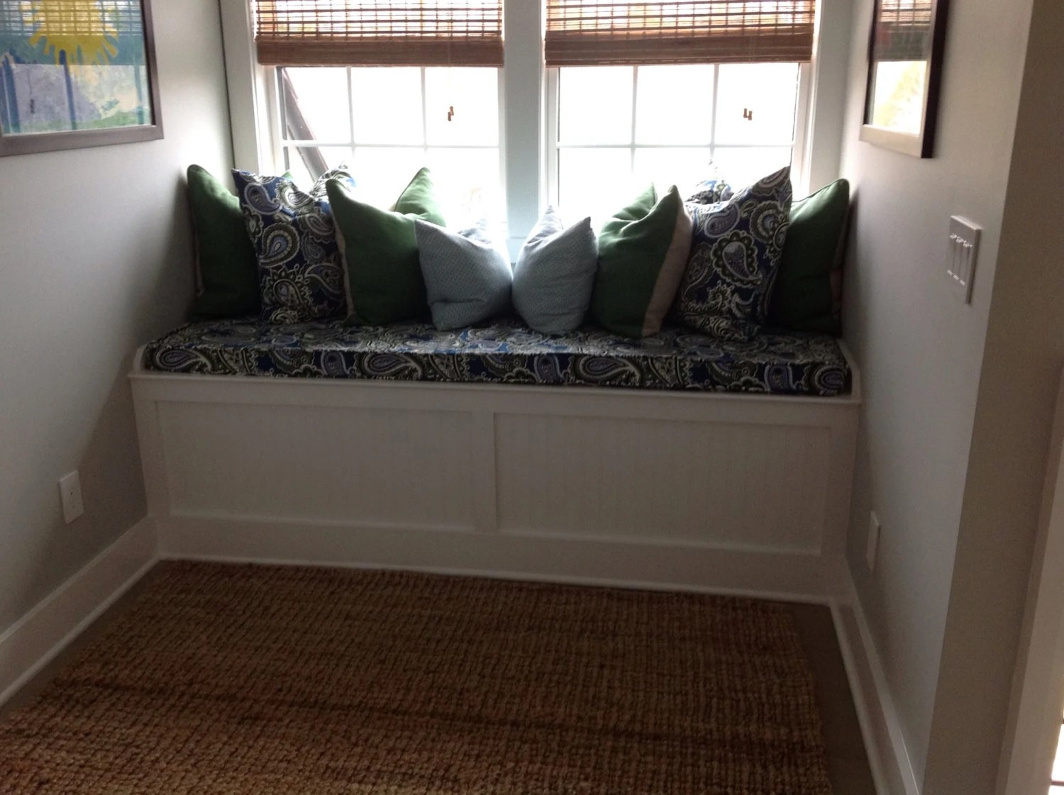 Custom Window Seat Cushion Cover With Piping Zipper Choose
