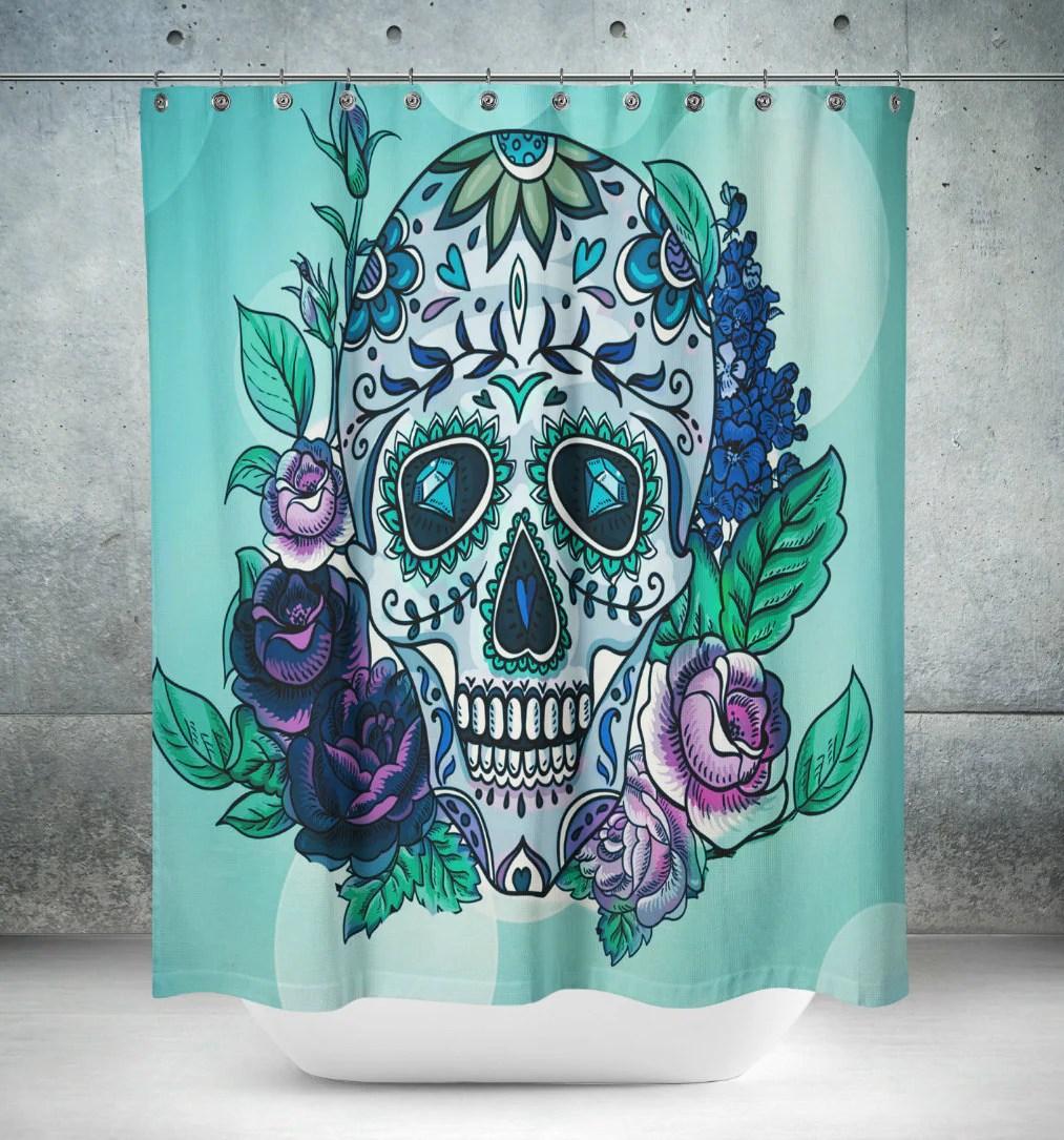 Sugar Skull Shower Curtain Teal Purple Floral