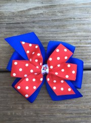 patriotic pinwheel hair bow red