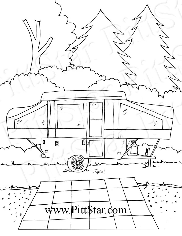 Rv Camping Coloring Pages Sketch Coloring Page