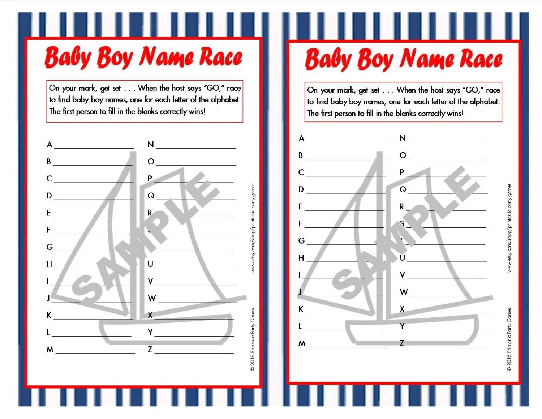 Nautical Baby Boy Name Race Printable Baby Shower Game