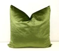 Olive Green Velvet Pillow Cover Throw Pillows by artdecopillow